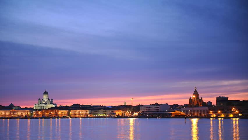 Panoramic Time Lapse of Helsinki City Skyline Iconic Sightseeing Dusk to Night