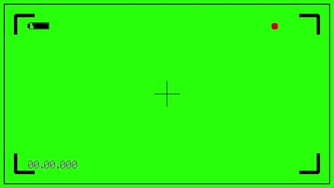 Camera recording on green screen.Digital viewfinder reconstruction alpha channel.Chroma key camcorder.Flashing red icon is recording video