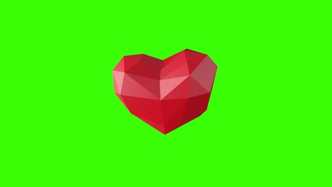 Low poly red heart on green screen. Looping Animation for valentine's day, wedding, birthday or other funny holidays. 60 BPM