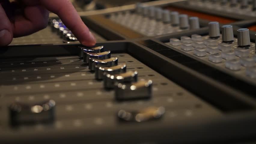 Sound recording studio.Mixing console | Shutterstock HD Video #1023719374