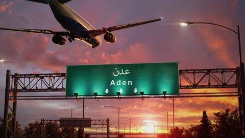 Airplane Landing Aden during a wonderful sunrise