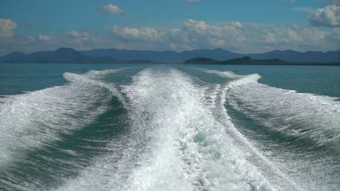 Slow Motion Sea waves caused by speedboats.