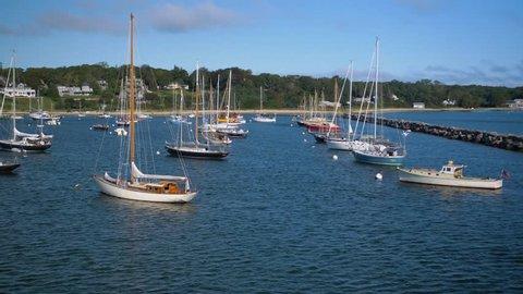 Martha's Vineyard, Massachusetts / United States - August 22 2018: Beautiful Wooden Sailboats Anchored in Harbor, Sailing Boats