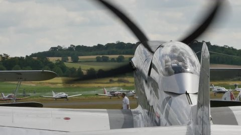 North American P-51 Mustang United States Combat Aircraft of the Second World War Taxiing. Duxford England Flying Legends Air Show 11 July 2015