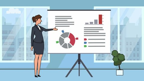 Flat cartoon businesswoman character speaker explain business concept on whiteboard presentation animation