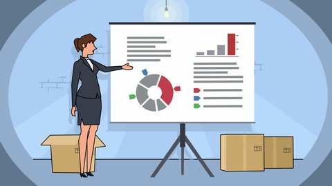 Flat cartoon businesswoman character in basement speaker explain business concept on whiteboard presentation animation