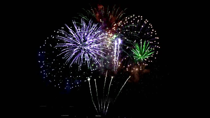 Colorful fireworks. Beautiful celebration backgraund.  Fireworks in 4k seamless loop at night sky isolated.  | Shutterstock HD Video #1023812764