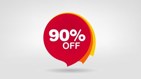 90% OFF Sale Promo Banner Special Offer Sticker. Sale Campaign Red Price Tag. Discount 90% Animation Badge.