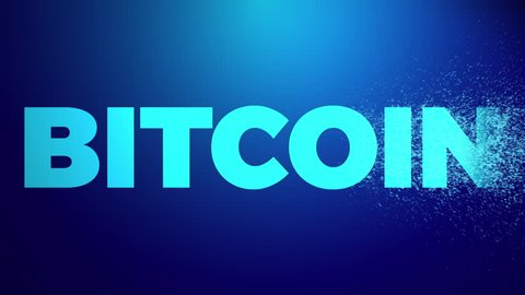 Bitcoin Cryptocurrency Market Abstract Animation of Bitcoin Crypto currency Futuristic Concept. Word Bitcoin on a Blue Background.