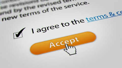 Mouse Cursor Clicking Accept for Terms and Conditions Agreement.