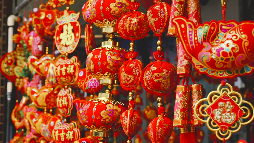 Traditional Chinese New Year Decorations. Stock Footage ...
