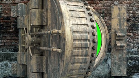 4K Animation of Grunge Vault Door in Brick Dirty Wall Open with Green Screen background. Close-up View