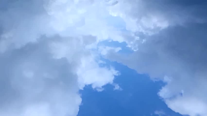 AERIAL VIEW AFTER RAIN TIME LAPSE THUNDER CLOUDS. Nature dark weather, soft mostly, fluffy, puffy cloudscape fast moving in horizon. | Shutterstock HD Video #1023992294