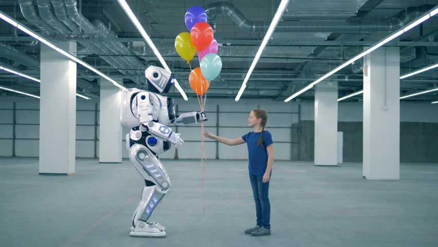 Teenage girl is giving balloons to a cyborg | Shutterstock HD Video #1024036994