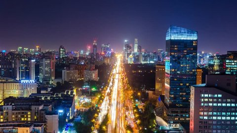 Big city filmed at night in Time Lapse