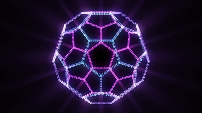 Abstract futuristic pink and blue neon object. Isolated on black background. | Shutterstock HD Video #1024113704