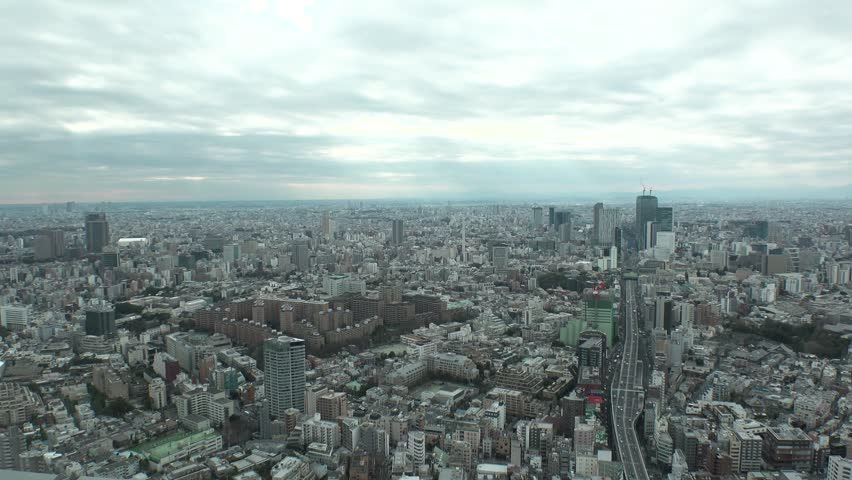 TOKYO,  JAPAN - CIRCA FEBRUARY 2019 : Aerial view of CITYSCAPE of TOKYO.  View around SHIBUYA area and HIGHWAY.  Shot in time lapse. | Shutterstock HD Video #1024126784