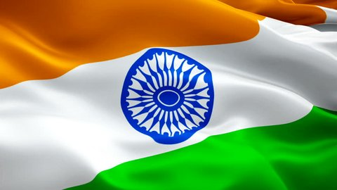 India seamlessly looping flag video waving in wind. Realistic Indian Flag background. India Flag Looping Closeup 1080p Full HD 1920X1080 footage. India Delhi Asian country flags/ HD flags available