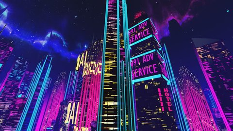 360 degree pan of futuristic city square, skyscrapers, ads, holograms, neon. Loopable synthwave 3D city, beautiful pink and purple background