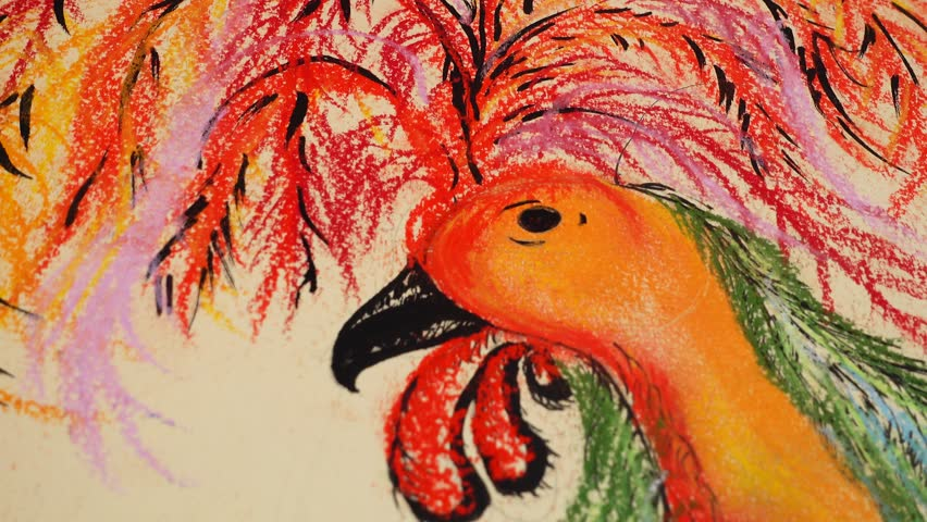 Drawing of a rooster. | Shutterstock HD Video #1024151984