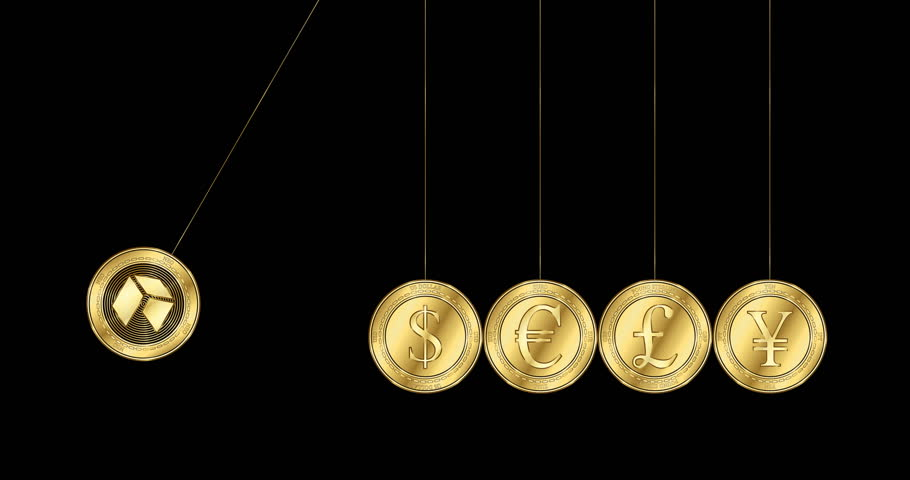 A gold coin with NEO (NEO) cryptocurrency symbol is shattered about gold coins with symbols of the main world currencies - dollar, euro, yen and pound sterling. Newton cradle concept | Shutterstock HD Video #1024170974