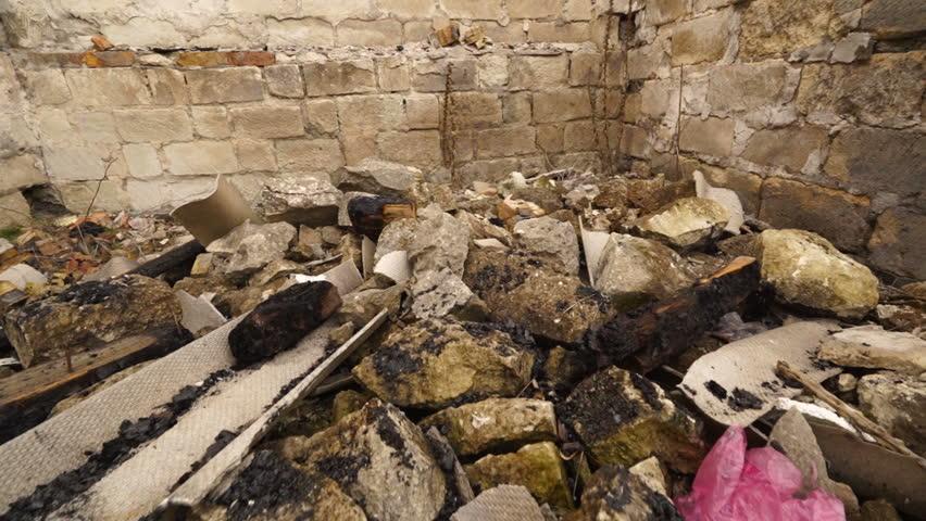 Destroyed walls of ruined industrial buildings steadicam gimbal shoot   Shutterstock HD Video #1024179464