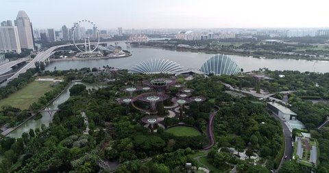 Singapore,Singapore - February 17, 2019 : Aerial view of Garden by the Bay from drone at Marina Bay, Singapore