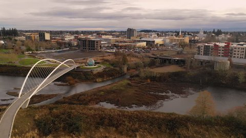 Minto Island Footbridge Leads over The Willamette Slough into Waterfront Park in Salem OR