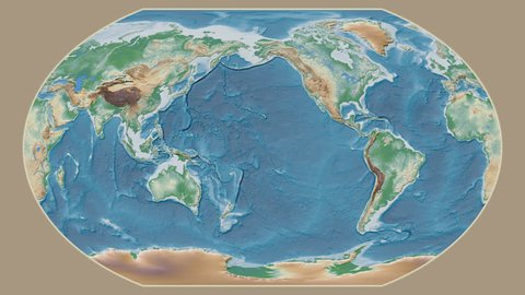 France area presented against the global physical map in the Kavrayskiy VII projection with animated oblique transformation