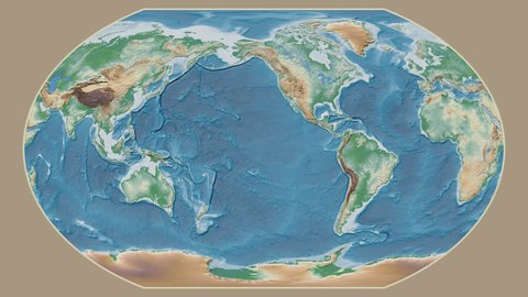 Greece area presented against the global physical map in the Kavrayskiy VII projection with animated oblique transformation