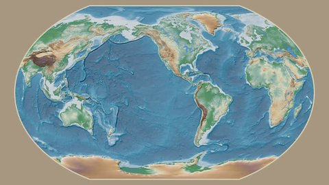 Georgia area presented against the global physical map in the Kavrayskiy VII projection with animated oblique transformation