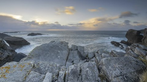 Time Lapse of Sunset Seascape Wild Atlantic Way Rocky Cliff Coast in county Mayo Ireland