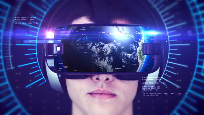 Young man wearing VR headset and experiencing 3D virtual reality. Technology related digital earth network concept. Seamless Loop. | Shutterstock HD Video #1024383374