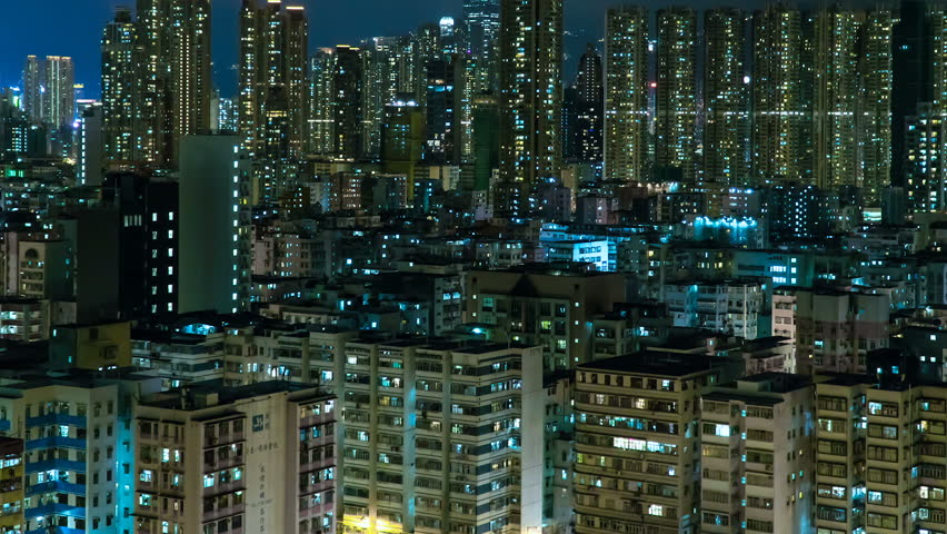 Panning night time lapse of hong kong residential district. Very high density crowded downtown buildings | Shutterstock HD Video #1024398554