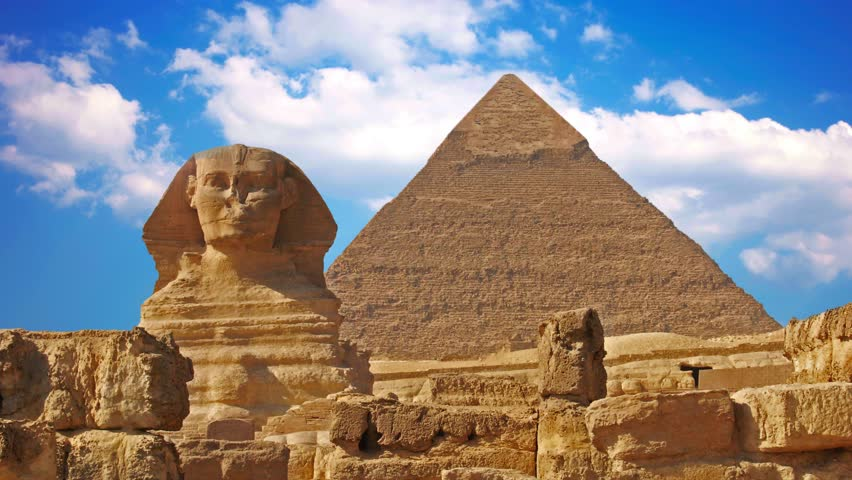 Ancient Sphinx And Pyramids Symbol Stock Footage Video