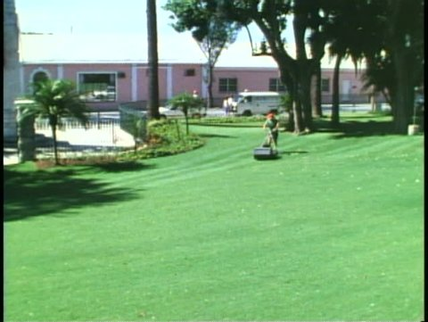 HAMILTON, BERMUDA, 1994, Grassy lawn being mowed, Bermuda grass