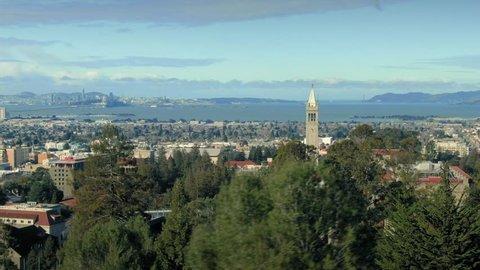 Aerial Of Berkeley University & The Cal Campus Campanile. Berkeley, California, USA. 17 February 2019