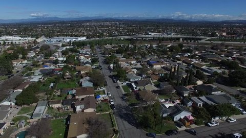 Aerial view of residential neighborhood in the suburbs of Anaheim California 4K.MOV