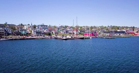 Flying toward the colorful, scenic, coastal town of Lunenburg, Nova Scotia, Canada