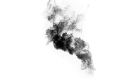 Smoke from an Extinct Fire. Black smoke rises from a large burning object.