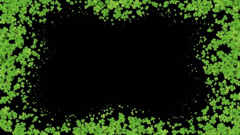 Beautiful Growing Clover Green Leaves Covering the Screen. Growing Grass Animation with Alpha Matte. Useful for Transitions. Spring Nature and New Life Concept. 4k Ultra HD 3840x2160.