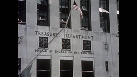 CIRCA 1940s - Legitimate U.S. currency is printed at the Treasury Department during the 1940's