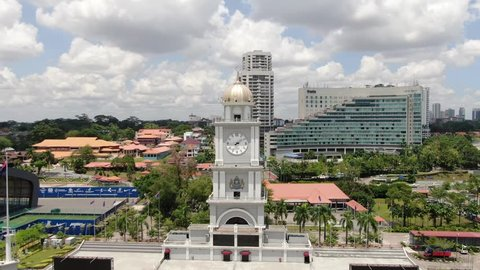 JOHOR BAHRU, JOHOR, MALAYSIA - FEBRUARY 23, 2019: Johor Bahru Clock Tower was build in the year 1994 as a remark of the place became city municipal. Until now it is remain as one of the city landmark.
