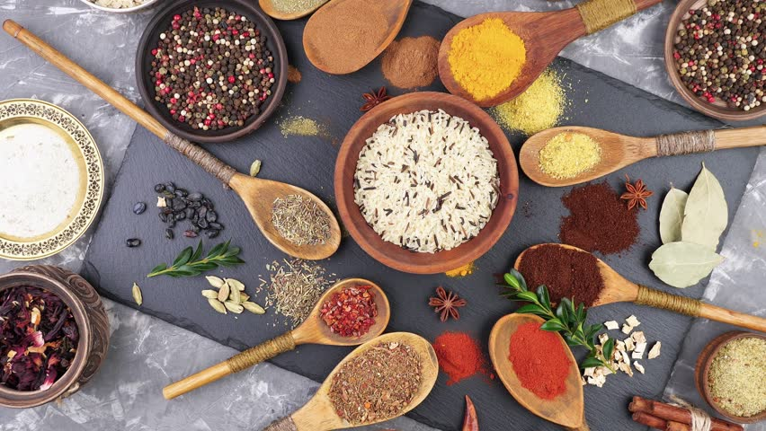 Spices and seasonings for cooking in the composition on the table #1024610264