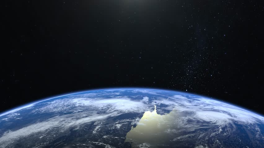 Earth from space. Stars twinkle. No sun in the frame. Flight over the Earth. 4K. Sunrise. The earth slowly rotates. Realistic atmosphere. 3D Volumetric clouds. The camera 36mm moves forward. | Shutterstock HD Video #1024637714