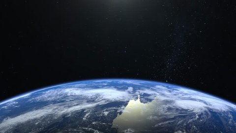 Earth from space. Stars twinkle. No sun in the frame. Flight over the Earth. 4K. Sunrise. The earth slowly rotates. Realistic atmosphere. 3D Volumetric clouds. The camera 36mm moves forward.