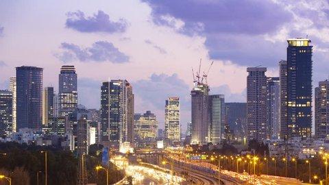 Tel Aviv Skyline and Ayalon Freeway Time lapse, Sunset, From Day To Night , Tilt Down, Israel
