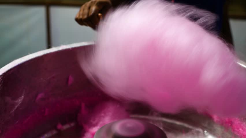 Making of cotton candy peechu meetai closeup pink food sweet | Shutterstock HD Video #1024706834