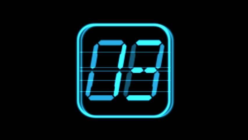 4k Digital counter,electronic timer,blue figure from one to ten,numbers on screen,finance digital tech data background. 0862_4k   Shutterstock HD Video #10247714
