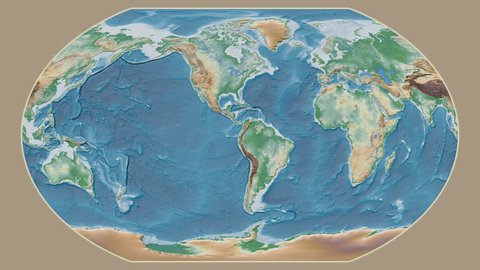 Sri Lanka area presented against the global physical map in the Kavrayskiy VII projection with animated oblique transformation